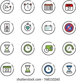 line vector icon set - 24 hours vector, alarm clock, schedule, 31 dec calendar, christmas mobile, stopwatch heart, no parking even road sign, sand, time, wallet, around