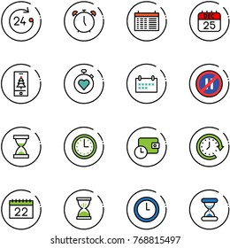 line vector icon set - 24 hours vector, alarm clock, schedule, 25 dec calendar, christmas mobile, stopwatch heart, no parking even road sign, sand, time, wallet, around
