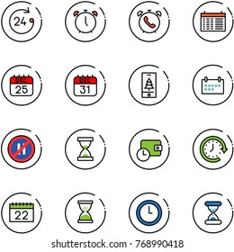 line vector icon set - 24 hours vector, alarm clock, phone, schedule, 25 dec calendar, 31, christmas mobile, no parking even road sign, sand, wallet time, around
