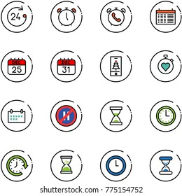 line vector icon set - 24 hours vector, alarm clock, phone, schedule, 25 dec calendar, 31, christmas mobile, stopwatch heart, no parking even road sign, sand, time, around