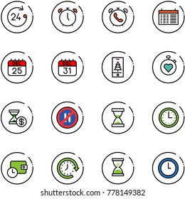 line vector icon set - 24 hours vector, alarm clock, phone, schedule, 25 dec calendar, 31, christmas mobile, stopwatch heart, account history, no parking even road sign, sand, time, wallet, around