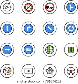 line vector icon set - 24 hours vector, no computer sign, trailer road, only forward right, detour, circle, bus, globe, pause, volleyball, playback, ufo toy, soccer ball