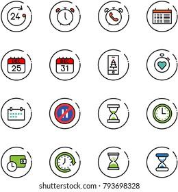 line vector icon set - 24 hours vector, alarm clock, phone, schedule, 25 dec calendar, 31, christmas mobile, stopwatch heart, no parking even road sign, sand, time, wallet, around