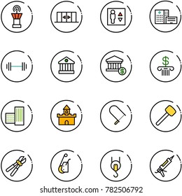 line vector icon set - airport tower vector, automatic doors, elevator, hospital building, barbell, bank, account, sand fort, fretsaw, rubber hammer, bolt cutter, winch, gun sealant
