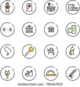 line vector icon set - airport tower vector, first aid room, building, hospital, barbell, bank, fretsaw, rubber hammer, cocncrete mixer, winch, stapler, construction helmet, gun sealant