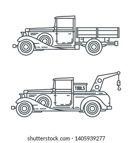 Line vector icon set american oldtimer repair service auto. Classic 1930s style. Nostalgia antique automobile. Transport gas station. Vintage country highway. Retro garage. Illustration collection car