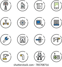line vector icon set - antenna vector, lab, atm, mobile, gyroscope, gear, monoblock pc, binary code, wrench, hdd, steel rolling, drill machine, allen key, robot, radio