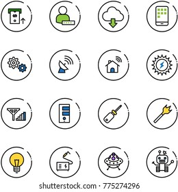 line vector icon set - atm vector, user password, download cloud, mobile, gear, satellite antenna, wireless home, sun power, fine signal, server, screwdriver, wood drill, bulb, welding, ufo toy
