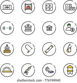 line vector icon set - automatic doors vector, baggage room, hospital building, barbell, bank, account, fretsaw, level, winch, construction helmet, gun sealant, constructor blocks, toy block house