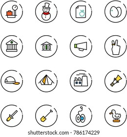 line vector icon set - baggage scales vector, snowman, diet list, eggs, bank, loudspeaker, victory, cap, tent, plant, dowel, clinch, shovel, yoyo, toy duck