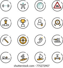line vector icon set - barbell vector, gymnastics, basketball ball, road for moto sign, winner, win cup, gold medal, rock axe, target, flying man, pool, swimming, surfing, windsurfing, gyroscope