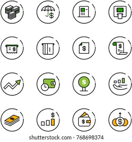 line vector icon set - big cash vector, insurance, atm, receipt, account statement, history, growth arrow, wallet time, money tree, dollar, chart, finance management