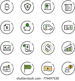 line vector icon set - bitcoin vector, safe, atm, account statement, piggy bank, encashment car, check, statistics, history, dollar, growth, ipo, money, dialog