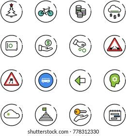 line vector icon set - christmas tree vector, bike, coin, money rain, safe, investment, drawbridge road sign, slippery, bus, left arrow, brain work, cloud, pyramid flag, key hand, terms plan