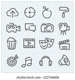 Line vector icon set for clean web design and user interface in any application