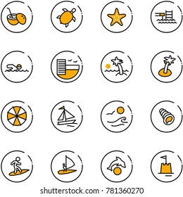 line vector icon set - coconut cocktail vector, sea turtle, starfish, pool, swimming, hotel, palm, parasol, sail boat, waves, shell, surfing, windsurfing, dolphin, sand castle