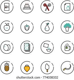 line vector icon set - coffee machine vector, cake, santa stick, diet list, apple, sweet pepper, pear, broccoli, eggs, breads, cereal, green tea, pineapple, strawberry, ice cream, sickle