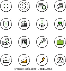 line vector icon set - currency vector, dollar coin, safe, bank, atm, investment, calculator, money torch, case, portfolio, rise, growth, mail