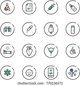line vector icon set - disabled vector, patient card, syringe, medical label, vial, pipette, drop counter, hospital bed, heart, bladder, ambulance star, virus, mobile monitor, molecule