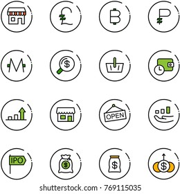 line vector icon set - duty free vector, pound, bitcoin, ruble, monero, money search, basket, wallet time, growth arrow, store, open, ipo, bag, dollar