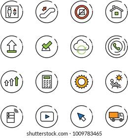 line vector icon set - elevator vector, escalator up, no computer sign, home, uplooad, check, refresh cloud, phone horn, arrows, calculator, sun, beach, server wireless, playback, cursor, truck toy