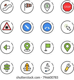 line vector icon set - escalator up vector, side wind, dollar pin, stop road sign, tunnel, detour, cursor, left arrow, map, flag, signpost, arrows, trip, wrench
