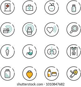 line vector icon set - first aid room vector, doctor bag, apple, pills bottle, mri, heart beat, bacteria, carrot, stomach, kidneys, pull ups, strawberry, uv cream, Angular grinder