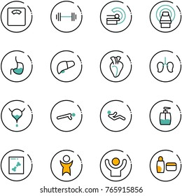 line vector icon set - floor scales vector, barbell, mri, stomach, liver, heart, lungs, bladder, push ups, abdominal muscles, liquid soap, x ray, success, uv cream