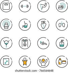line vector icon set - floor scales vector, barbell, power hand, mri, stomach, heart, lungs, bladder, pull ups, abdominal muscles, liquid soap, x ray, success, uv cream