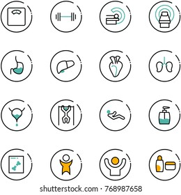 line vector icon set - floor scales vector, barbell, mri, stomach, liver, heart, lungs, bladder, pull ups, abdominal muscles, liquid soap, x ray, success, uv cream