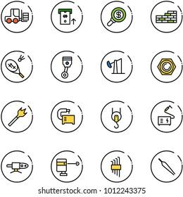 line vector icon set - fork loader vector, atm, search money, brick wall, badminton, piston, oil derrick, nut, wood drill, machine tool, winch, welding, pipe, laser lever, allen key set, forceps