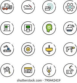 line vector icon set - fork loader vector, snowmobile, mri, heart gear, atm, brain work, printer wireless, conveyor, saw disk, crown drill, machine, cocncrete mixer, generator, winch, welding