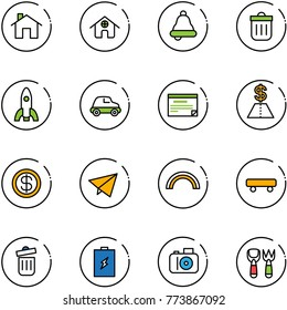 line vector icon set - home vector, bell, trash bin, rocket, car, schedule, dollar, paper fly, rainbow, skateboard, battery, camera, shovel fork toy