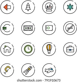 line vector icon set - left arrow vector, christmas tree, snowball house, ambulance star, euro, dollar, safe, end overtake limit road sign, home, time, air balloon, case, clamp, bolt cutter