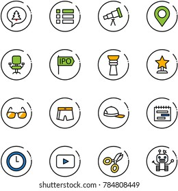 line vector icon set - merry christmas message vector, menu, telescope, map pin, office chair, ipo, award, sunglasses, swimsuit, cap, terms plan, clock, playback, scissors, robot