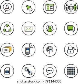 line vector icon set - merry christmas message vector, cursor, website, group, social, mail, dialog, mobile phone, antenna, wireless lock, sim, link, chat, circuit