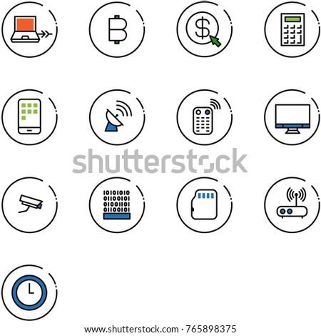 Line Vector Icon Set Netabook Connect Stock Vector (Royalty