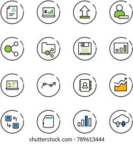 line vector icon set - patient card vector, account statistics, uplooad, user password, share, shared folder, save, monitor, chart point arrow, contact book, growth, data exchange, micro flash