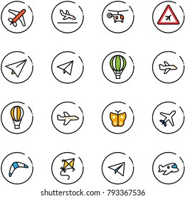 line vector icon set - plane vector, arrival, helicopter, airport road sign, paper, fly, air balloon, butterfly, boomerang, kite, toy