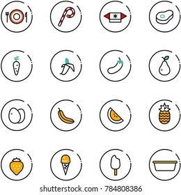 line vector icon set - plate spoon fork vector, lollipop, candy, meat, carrot, banana, eggplant, pear, eggs, watermelone, pineapple, strawberry, ice cream, basin