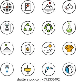 line vector icon set - radar vector, first aid room, mountains, dog, pull ups, social, friends, round flask, pyramid flag, passport, waves, shell, laser, crown drill, boomerang, basketball
