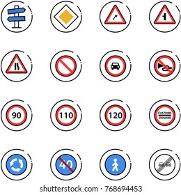 line vector icon set - road signpost vector sign, main, turn right, intersection, narrows, prohibition, no car, horn, speed limit 90, 110, 120, customs, circle, end minimal, pedestrian way, overtake