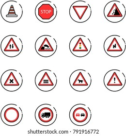 line vector icon set - road cone vector, stop sign, giving way, landslide, oncoming traffic, embankment, light, abrupt turn right, railway intersection, cow, attention, prohibition, no truck