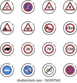 line vector icon set - round motion vector road sign, no parkin odd, oncoming traffic, intersection, gravel, railway, horn, limited width, truck, speed limit 30, 70, 130, bus, end minimal, stop