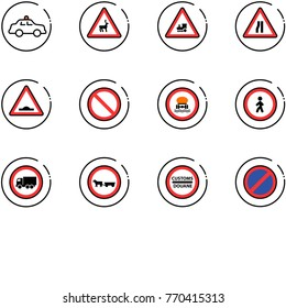 line vector icon set - safety car vector, wild animals road sign, railway intersection, narrows, artificial unevenness, prohibition, no dangerous cargo, pedestrian, truck, cart horse, customs