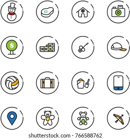 line vector icon set - snowman vector, meat, home, camera, money tree, brick wall, key, cap, volleyball, suitcase, bucket scoop, mobile phone, navigation pin, bear toy, bow
