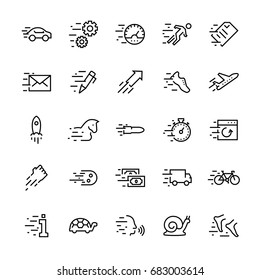 Line vector icon set of speed. Editable stroke.