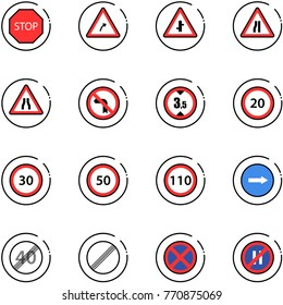 line vector icon set - stop vector road sign, turn right, intersection, narrows, no left, limited height, speed limit 20, 30, 50, 110, only, end, parking even