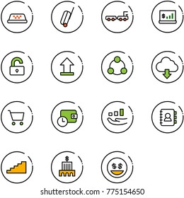 line vector icon set - taxi vector, suitcase, baggage truck, account statistics, unlocked, uplooad, social, download cloud, cart, wallet time, growth, contact book, stairs, bank building