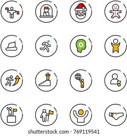 line vector icon set - traffic controller vector, officer window, santa claus, cake man, treadmill, run, brain work, success, career, world, winner, win, swimsuit